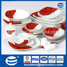 red black square dinnerware sets. red and gray rose decal decorated 50pcs plain white bowls black plates dinner set with square dinnerware sets