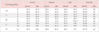 Pink Size Chart Size Chart Www Pinkqueen Com