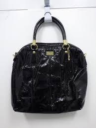 black patent leather coach handbag