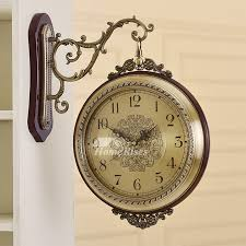 double sided wall clock hanging round