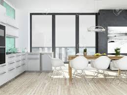 Kitchen Wooden Floor Modern White And Green Kitchen Interior With Wooden Floor Stock