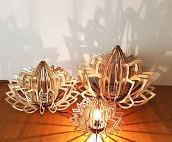 wood lamps suspended like lotus vuing com