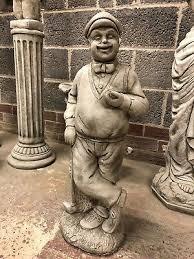 golfer stone garden ornament statue