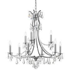 9 light polished chrome crystal chandelier dd in clear swarovski strass crystal