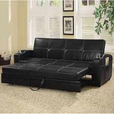 Sofa Lounger Bed Faux Soft Leather Sofa Bed Sleeper Lounger W Storage Cup  Holders Wooden