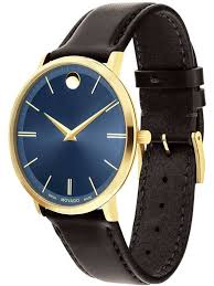 movadomens ultra slim blue leather strap watch 0607088