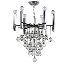 mid century modern chrome crystal chandelier