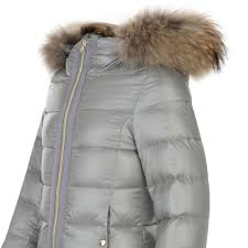 herno girls grey padded coat with detachable hood and fur trim