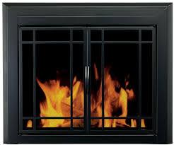 fireplace glass doors mesh screens small black finish pleasant hearth easton