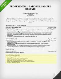 Additional Resume Skills Professional Laborer Sample Resume With Additional Skills And
