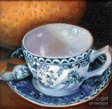 still life painting blue and white teacup with spoon by marlene book
