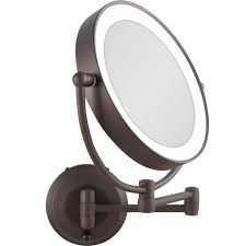 led lighted cordless round doublesided wallmount makeup mirror