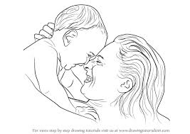 Learn How To Draw Mother Holding Infant Other People Step By Step