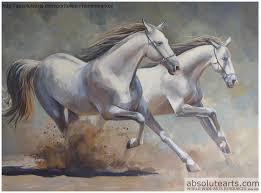 roman markov artwork running horses original painting acrylic horses art