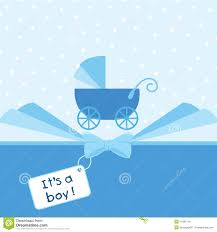 Baby Boy Arrival Announcement Card Stock Vector Illustration Of
