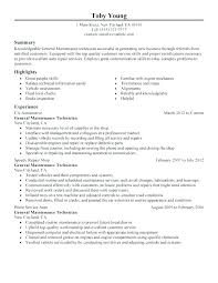 Maintenance Tech Resume Mechanic Apartment Maintenance Technician ...