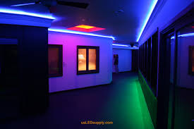 hallway accent lighting with rgb flexible led strips and 4 zones of color