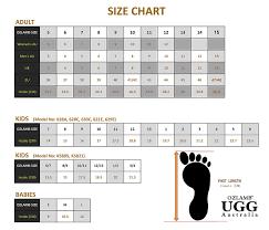 Size Chart Ozlamb Ugg Australia