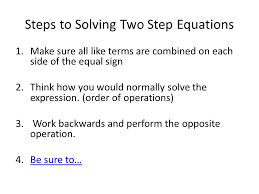 5 steps to solving two step equations