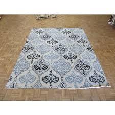 7 9 x 9 6 hand knotted soft aqua blue ikat peshawar oriental rug