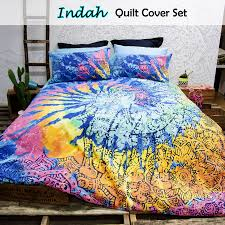 details about retro home indah tie dye vintage quilt doona cover set single double queen king
