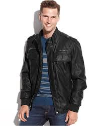 black leather military jackets calvin klein faux leather er jacket