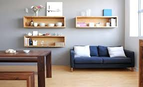 floating box shelf place oak wall mounted shelves in dining sitting room with blue sofa and floating box shelf