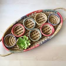 Woven Drink Holder Caddy | Serving Tray with Handles | Woven Oval Basket  Tray | Shallow