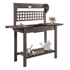 wooden garden potting table