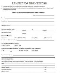 Time Off Request Form Pdf Free 9 Sample Request Off Forms In Word Pdf