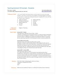 Science Teacher Assistant Resume Teaching Assistant Cv Example