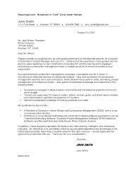 Interesting Construction Cover Letter Samples 80 For Sample Cover