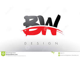 Bw Design Bw B W Brush Logo Letters With Red And Black Swoosh Brush