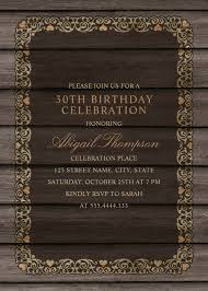 fancy wood 30th birthday invitations rustic country invitation templates
