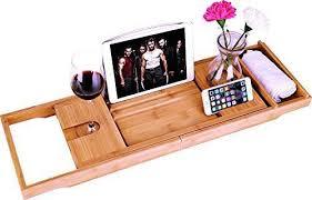 luxury wood bamboo bathtub bath tub caddy tray with extending sides built in