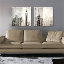 Modern Painting For Living Room 2 Panel Canvas Painting Retro Abstract Architecture Wall Art