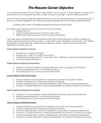 Effective Career Objective For Resumes Effective Career Objective For Resume Under Fontanacountryinn Com