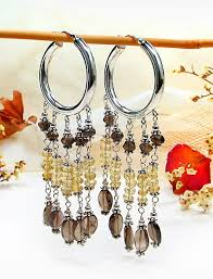handmade sterling silver citrine smoky quartz chandelier hoop earrings