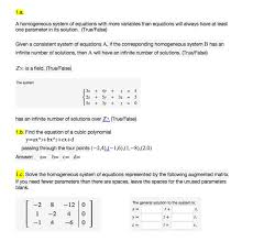 a geneous system of equations with more variables than equations will always have at