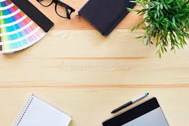 Top view of work desk stock photo Image of desk background 57559314