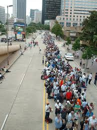 btw stuff you should know remembering hurricane katrina ten hurricane shelter line