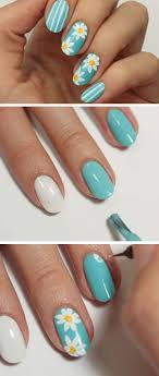 daisy blue awesome spring nails design for short nails easy summer nail art