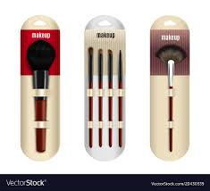 realistic makeup brushes set vector image
