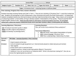 Lesson Plan Outline Lesson Plan Template Completed Example By Poetryessay Teaching