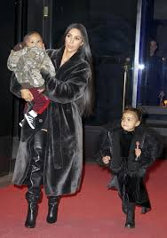 coat fur all black everything kim kardashian north west kids fashion boots over the coat, fur, everything, kardashian,