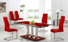 stylish outstanding red chairs for dining room on leather