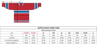 Nhl Jersey Size Chart Size Charts Zepter Sports Usa