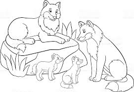 Small Picture Coloring Pages Mother And Father Wolves With Their Babies stock