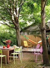 eclectic outdoor furniture. Eclectic Outdoor Furniture Landscape Yard With Fence Drop Leaf Table Exterior Dining . E