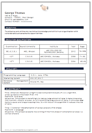 be cse fresher resume format 28 resume templates for freshers